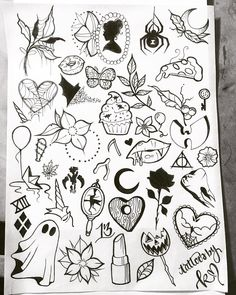 My previous flash sheets and my NEW Halloween flash sheet! Small ones under - Tattoos and Ink - halloween tattoos Tattoo Flash Sheet, Tattoo Flash Art, Flash Tattoos, Halloween Tattoo Flash, Halloween Drawings, Cute Halloween Tattoos, Smal Tattoo, Arm Tattoo, Tattoo Ink