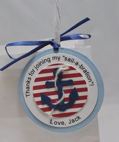 A nautical thank you is on this tag  Attaches perfectly to a party favor bag  A personal touch thats one of a kind  Anything more unique you