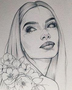 Papier Canson Moulin du Roy 300 g Bleistift Pentel Orenz ____________________ - Kunst Bilder - ski Pencil Art Drawings, Art Drawings Sketches, Easy Drawings, Drawing Faces, Easy Sketches To Draw, Tattoo Sketches, Tumblr Sketches, Girl Face Drawing, Portrait Sketches