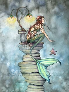 Mermaid Fantasy Watercolor Fine Art Print by by MollyHarrisonArt, $18.00