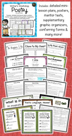 Writers Workshop Poetry packet is packed with EVERYTHING YOU MIGHT NEED for this unit. This packet follows the Writer's Workshop format which has connections, mini-lessons, active engagement, link, independent practice and sharing. This is classroom tested, kids and teachers approved!