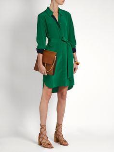 Bi-colour silk shirtdress   Diane Von Furstenberg   MATCHESFASHION.COM