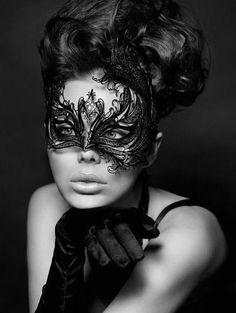 Exotic Black Phoenix Metal Filigree Mask Laser Cut Masquerade Ball Mask Detailed with Clear Swarovski Rhinestones (For Her)