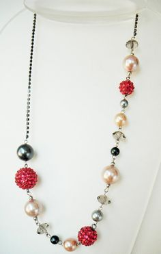 Pearl+Pink+Crystal+Necklace+Beaded+Necklace+Spring+by+mscenna