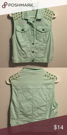 Studded Vest Size M Cute studded vest in a cute aqua color. F21. Gently worn. Size M Forever 21 Jackets & Coats Vests
