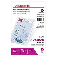 """Office Depot® Brand Clear Pockets, 5"""" x 8"""", Pack Of 10; perfect size to insert clear stamps"""