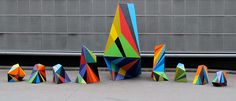 We're all familiar with pattern association, like how Missoni is famous for a certain pattern; well, Matt W Moore is pretty well known for his bold, in your face geometric sculptures. Geometric Sculpture, Street Artists, Repeating Patterns, Optical Illusions, Print Patterns, Art Projects, Sculptures, Sculpture Art, Design Inspiration