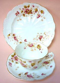 Victorian English Tea Cup Trio White & Pink Florals Fine Bone China