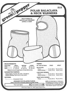 Sewing Pattern - Polar Fleece Balaclava Patterns and Neck Warmer Pattern for Both Adults and Children- Green Pepper Patterns