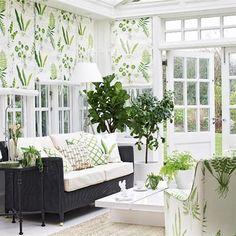 Clue White Green Conservatory decor