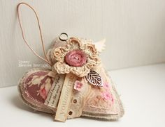 """Купить Сердечко """"Нежность"""" - подвеска сердце, подвеска сердечко, шебби шик, подарок на день рождения"""