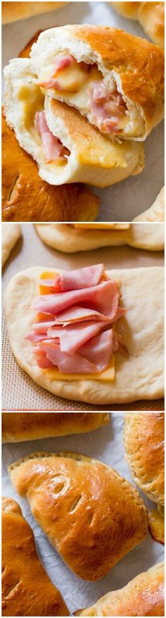 Make freezer-friendly homemade ham & cheese pockets with this easy recipe! Quick to reheat on the go! sallysbakingaddic...