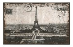 "Postcard Style Paris Eiffel Tower 48""x31"""
