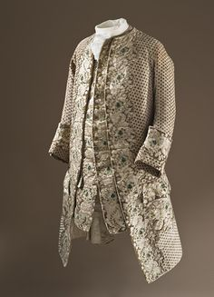 France  Man's Coat and Waistcoat, circa 1750  Costume/clothing principle attire/upper body, Silk cut, uncut, and voided velvet (ciselé) with metallic-thread supplementary weft patterning, a) Coat center back length: 41 in. (104.14 cm); b) Waistcoat center back length: 41 in. (104.14 cm)