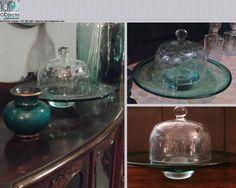 CAMPÂNULA ou REDOMA antiga, em vidro lapidado, para queijos e/ou bolos ou.....