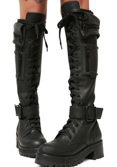 Current Mood Obsidian Pocket Combat Boots will have ya winnin' every battle. These sikk combat boots have lil zippered pockets on the sides, a lace-up front, and buckles at the ankles with inside zipper closures. Style Converse, Converse Outfits, Knee High Boots, Over The Knee Boots, Knee High Converse, Cute Shoes, Me Too Shoes, Guess Shoes, Womens Gothic Boots