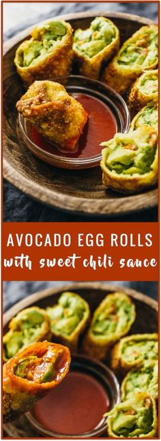 Avocado egg rolls with sweet chili sauce (vegan) - These avocado egg rolls  are fried to crispy perfection and served with a tasty sweet chili sauce.