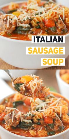 ITALIAN SAUSAGE SOUP RECIPE - This Italian Sausage Soup made with sausage pasta peppers and spinach is so flavorful and satisfying youll wish you had made a double batch! Make it on the stove top or instant pot! Ground Italian Sausage Recipes, Sausage Pasta Recipes, Italian Sausage Pasta, Italian Soup, Sweet Italian Sausage, Italian Recipes, Soup Recipes, Vegetarian Recipes, Dinner Recipes