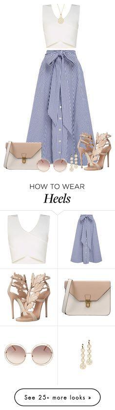 Falda y blusa larga de jean y blusa blanca corta con zapatos piel