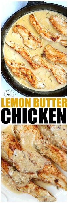 Lemon Butter Chicken Strips - skillet chicken with lemon butter garlic sauce, flavorful