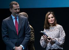 12 February 2018 - King Felipe and Queen Letizia present National Innovation and Design Awards in Mostoles - blouse by Zara