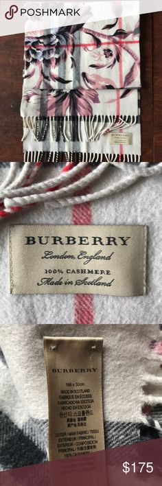 Authentic Burberry scarf (floral print) Floral print Burberry scarf (over classic traditional plaid pattern) worn only once before! It's 100% cashmere and guaranteed authentic. Purchased for $350 in NYC (57th st) store location. Measures 168 x 30cm Burberry Accessories Scarves & Wraps
