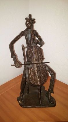 "VINTAGE MAN VIOLIN PLAYER  ABSTRACT CONTEMPORARY ART 11"" TALL BRONZE SCULPTURE"