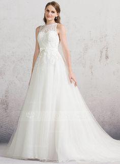 [R$ 815.53] De baile Decote redondo Cauda longa Tule Renda Vestido de noiva com Curvado (002084744)
