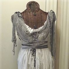 Ghost Bride Halloween Costume Pirate Dress Train and Veil Custom Size Gothic White Zombie Halloween Costume. $110.00, via Etsy.