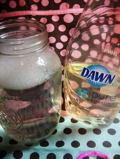 2/3 cup good quality liquid dish washing detergent 4 cups water