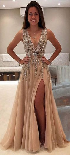 Shinny prom dress with slit