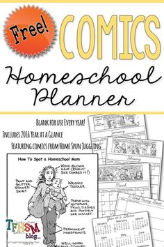 A free printable homeschool comics planner - ready for you to download today! Perfect to use as-is, or to color, and uses witty comics to entertain moms. #free #homeschool #calendar #planner #homeschooling #homeschoolplanning #freeplanner #homeschoolcalendar Witty Comics, Free Calendar, Free Comics, School Today, Free Planner, Mom Blogs, Frugal, Homeschooling, Planners