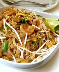 Shrimp Pad Thai14 oz rice noodles1lb shrimp—peeled, cleaned, and deveined3/4 cup brown sugar3 eggs, beaten1 thai chili, finely chopped (or 1 tsp red pepper flakes for a milder heat)1 bunch scallions, sliced4 cloves garlic, minced1 cup bean sprouts8 oz firm tofudrained, patted dry, and cubed into 1/2 pieces1/3 cup peanuts, finely chopped3 tbsp vegetable oil (divided)4 tbsp tamarind paste2 tbsp fish sauce1 tbsp shrimp paste1/4 cup cilantro, chopped1 lime, cut into wedgesSoak the rice noodles…