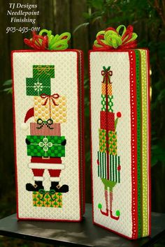 Large elf block stand-ups of needlepoint