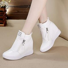 Fashion English letters canvas casual shoes within 8 cm higher Prom Shoes, Kid Shoes, Girls Shoes, Shoes Women, Rubber Shoes For Women, Stylish Shoes For Women, Pretty Shoes, Cute Shoes, Fashion Boots