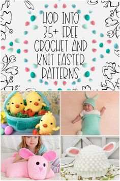 Easter is right around the corner and Yarnspirations has put together a collection of over 35 free crochet and knit Easter patterns - get them all plus bonuses on Moogly! Free Knitting, Free Crochet, Knitting Patterns, Easter Crafts, Holiday Crafts, Holiday Crochet Patterns, Diy Ostern, Bobble Stitch, Cross Stitch Art