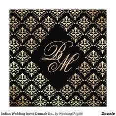 Indian Wedding Invite Damask Gold Winter Black