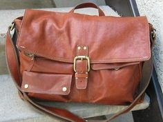 FOSSIL Tan Leather Briefcase Messenger Used Bag