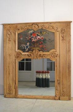 trumeau chêne ancien blanchi louis xv estimation miroir peinture 18ème xviiième…