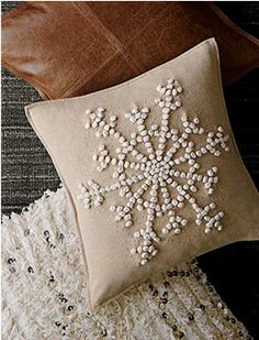 Beautiful neutral pillows can add sophisticated holiday cheer to your sofa or cozy chair. Merry Christmas Everyone, Cozy Christmas, White Christmas, Christmas Holidays, Christmas Crafts, Snowflake Pillow, Christmas Decorations For The Home, Christmas Inspiration, Pottery Barn
