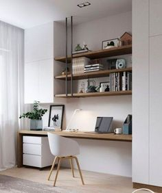 31 White Home Office Ideas To Make Your Life Easier; home office idea;Home Office Organization Tips; chic home office. Small Home Office Furniture, Home Office Space, Home Office Desks, Office Lounge, Office Nook, Office Rug, Muebles Living, Modern Office Design, Office Designs