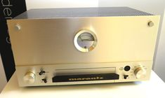 Marantz Model 9 - a mono amp capable of delivering 70W - it was the first Marantz meant for display. Compare that to the Marantz Model 8 below which arguably was more capable but less cosmetic. Today these go for $15,000 and you'll need a pair if you want stereo output.