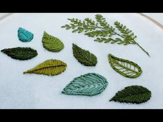 Hand embroidery leaves with different stitches for beginners. Leather Embroidery, Embroidery Leaf, Hand Embroidery Videos, Embroidery Stitches Tutorial, Hand Embroidery Flowers, Flower Embroidery Designs, Creative Embroidery, Embroidery Patterns Free, Embroidery For Beginners