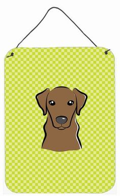 Checkerboard Lime Green Chocolate Labrador Wall or Door Hanging Prints