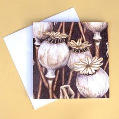 Greetings Card - Blank - Poppy Seed Heads Remembrance Day, Seed Pods, Blank Cards, Line Drawing, Colored Pencils, Pencil Drawings, Poppy, Hand Lettering, Seeds