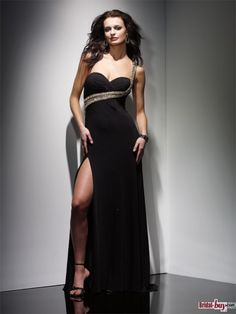2013 Sexy Sweetheart High Slit Column Chiffon Beaded Long Black Evening Dresses/Prom Dresses. Only $138.99! Custom Made, Fast Shipping Quality Guaranteed! bridal-buy.com