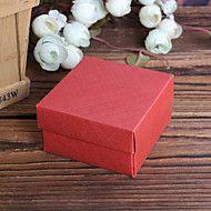 Burgunder Square Diamond Pattern Pearl Paper favør bokser - Sett med 12