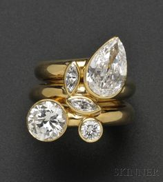 Gold and Diamond Ring, David Webb Sale Number Lot Number 709 Skinner Auctioneers Diamond Rings, Diamond Jewelry, Gold Jewelry, Jewelry Rings, Vintage Jewelry, Fine Jewelry, Jewellery, Pear Diamond, Diamond Necklaces
