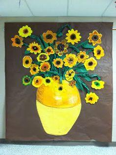 Van Gogh display--each child does a sunflower. This is my favorite Van Gogh. Group Art Projects, Collaborative Art Projects, Classroom Art Projects, School Art Projects, Art Classroom, Class Projects, Kindergarten Art, Preschool Art, Montessori Art