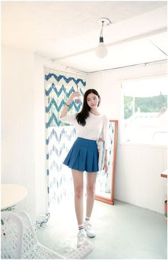 Denim Tennis Pleats Skirt | Korean Fashion